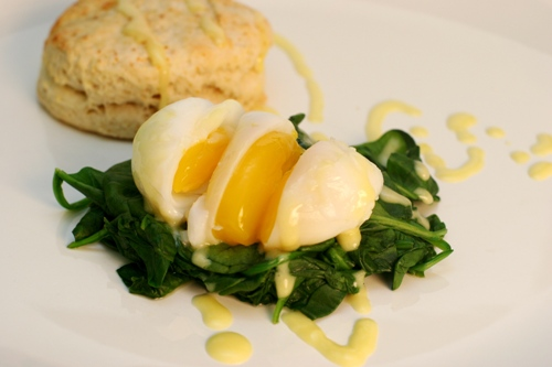 ... her dishes. Here, sous vide egg paired with Meyer lemon hollandaise
