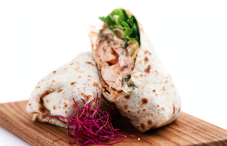 Chicken Club Salad Wraps with chicken cooked sous vide with SousVide Supreme.