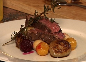 sous vide ribeye steak with beets and turnips