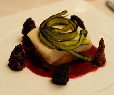 Halibut Beurre Rouge with Shaved Asparagus, Morels, and Heirloom Potatoes