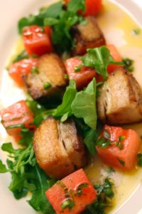 Pork Belly with Watermelon and Serrano Vinaigrette