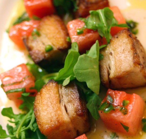 Pork Belly with Watermelon in Serrano Mint Vinaigrette made with SousVide Supreme!