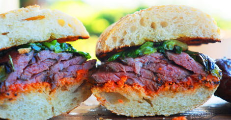 SOUS VIDE STEAK SANDWICH WITH ROMESCO