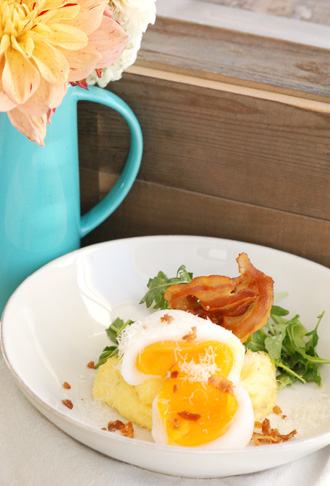 Sous Vide Soft Cooked Goose Egg served over Polenta with Pancetta & Greens