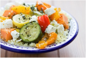 Couscous with Mediterranean Vegetables Mint and Feta #sousvide