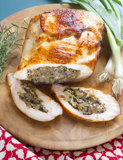 Stuffed Turkey Breast with Leeks and Mushrooms