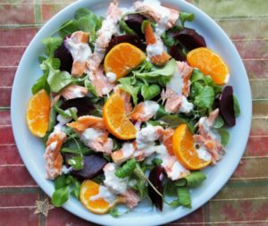 Clementine and Sous Vide Salmon Salad with Wasabi Dressing #sousvide