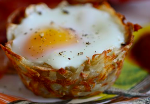 Sous Vide Soft Poached Eggs in Hashbrown Nests #sousvide