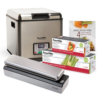 The SousVide Supreme Promo Pack - Everything you need to start cooking sous vide now!  Buy Now»