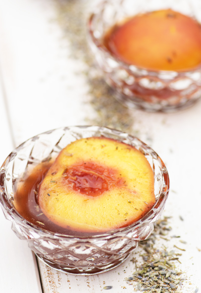 Lavender Poached Peaches