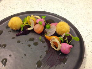 #sousvide Beetroot Salad with Goats Cheese Beignets