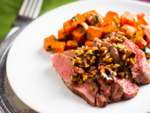 Moroccan Sirloin with Fig Pistachio Butter